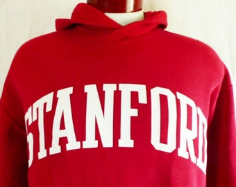 Go Cardinals vintage 80's 90's Stanford University red fleece white spellout block letter logo hoodie graphic sweatshirt russell athle large