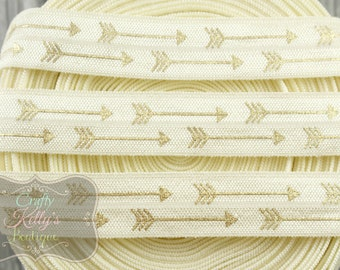 Gold Arrows on ANTIQUE WHITE Elastic,  5/8 inch Fold Over Elastic, Gold Hello Elastic, Foil FOE, Headband Supply, Hairties, 1 or 3 Yards