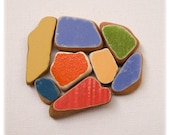 Solid Colors Sea Beach Pottery, Orange/ Yellow/ Blue / Green/Red Beach Pottery, Pendant Supplies, Mosaic Craft, Painted Terracotta Shards