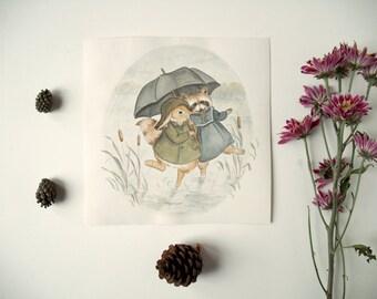 Original Painting: Rainy Day Companions - umbrella, illustration, children's art, friends, cute, woodland, water, showers, wildlife, animals