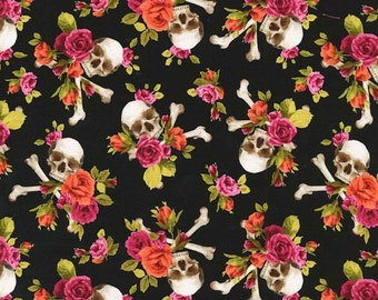 Fat Quarter Skull's Out Charm Skull 100% Cotton Quilting Fabric - Michael Miller