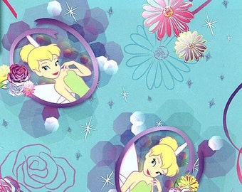 Fat Quarter Tinkerbell Petal Perfect Cameo 100% Cotton Quilting Fabric