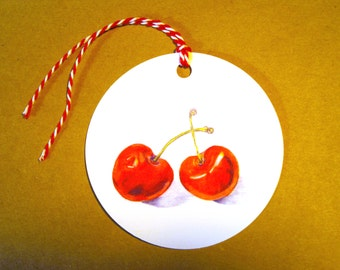 Cherry Ripe Gift Tags - Set of Six Round Cherry Gift Tags