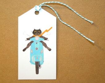 Cat on an Aqua Vespa Gift Tags: Set of Six GIFT TAGS