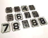 VINTAGE HOUSE NUMBERS - Glass - Beveled - Galvanized - Silver - Reflective Black - Anniversary Birthday 2 4 6 7 8