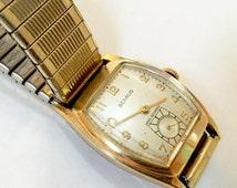 Vintage BENRUS WATCH Shock Absorber Swiss - 1950's Gold Speidel Stretch Band USA - Wristwatch