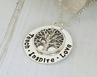 """Personalized Mother Necklace, Sterling Silver, Custom Made, Hand Stamped, Family Tree, Name Necklace, 7/8"""", Mommy Jewelry, Grandmother, Nana"""