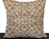Pillow, Throw Pillow, Pillow Cover, Cushion, Decorative Pillow, Ramey Caramel Brown Cream traditional contemporary modern decor