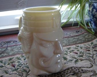 Vintage antique Avon Military beer mug stein ivory glass stein collectible bar cave decor man cave decor gift idea