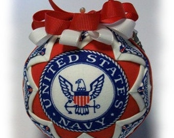 Quilted Ornament US Navy FormaI Handmade Keepsake Ornament