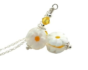 Adorable Petite 12mm Daisy bead earrings bright yellow 4mm Swarovski Crystal, chain threader Sterling Silver ear wires