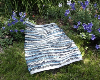 Recycled WOOL, Hand-woven, Rag rug, in shades of blue, gray, black, and cream.