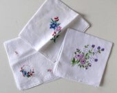 Lot of 3 Vintage Ladies Square Linen Hankerchief, Embroidered, Woman's Accessory, Wedding,  circa 50's