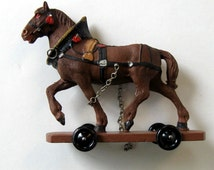 Antique Harnessed Horse Pull Toy, Hand Painted, Made in Austria, Vintage toy, Nursery Decor, Collectible, gift idea