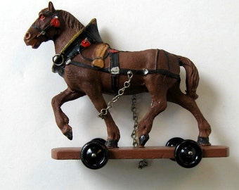 Antique Harnessed Horse Pull Toy, Hand Painted, Made in Austria, Erzgebirge style, vintage toy, Nursery Decor, Collectible, gift idea