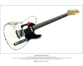 Rick Parfitt's Fender Telecaster Limited Edition Fine Art Print A3 size