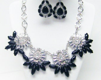 Clear/Black /Silver Statement Necklace & Earrings Set