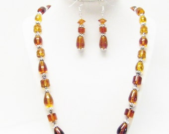 Bronze Mix Glass Beaded Necklace with Earrings