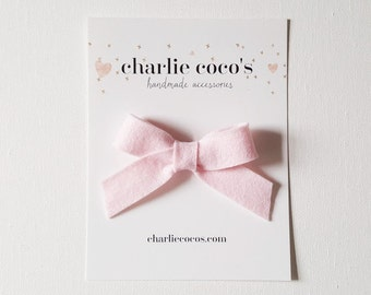 "SALE Baby / Girls Felt Bow Headband OR Hair Clip ""Light Pink"" // Premium Wool Felt Bow // Valentine's Day Hair Bow"