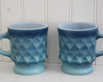 A Merry Pair of Vintage Blue Fire King Mugs