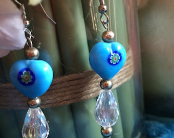Indian inspired earrings with Chinese Crystal tear Drops