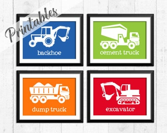 PRINTABLES, Construction art prints, digital construction wall art, baby boy digital trucks art, transportation wall decor,  A-4012
