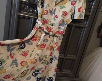 40s Bright Floral Novelty Print Day Dress