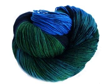 hand-dyed Yarn, Handpainted Sock Yarn  in black, green, blue, handdyed yarn, hand dyed yarn,   for knitting socks or shawls