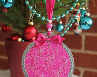 SALE One of a Kind Hand Marbled Christmas Ornament