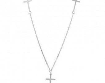 Sterling Silver Rhodium Plated 3 Crosses Necklace #2