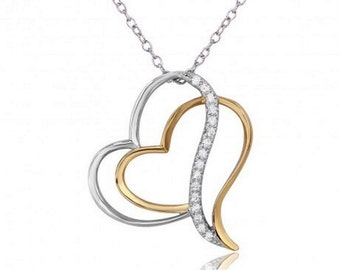 Sterling Silver Rhodium Plated 2 Toned Double Open Heart Necklace #35