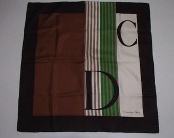 CHRISTIAN DIOR/ VINTAGE Designer SilK /CoCo Brown Cream/  Green Chic Stripe Print 1980s
