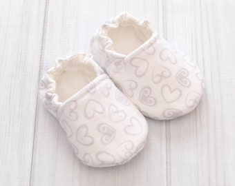 White Girl Shoes - White Hearts - White Baby Shoes - Baby Girl Walking Shoes - Girls Toddler Shoes - 1512