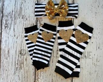 NEWBORN- 1 pair of Newborn leg warmers with headband- Newborn Gold heart baby leg warmer- Black and white leg warmers baby leg warmers