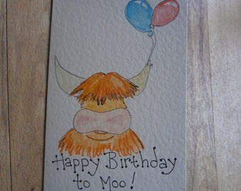 Happy Birthday to Moo,Highland cow Birthday card