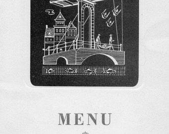 Vintage KLM Royal Dutch Airline Menu Undated Probably First Class Passage in English and French Printed in the Netherlands Marked T 15b