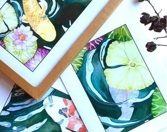 Greeting Card Set, Koi Fish Pond, Blank, Fine Art Prints