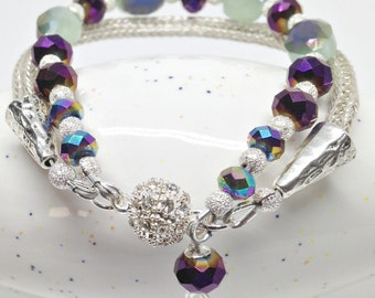 Purple and green ori crystal and silver viking knit ladies bracelet