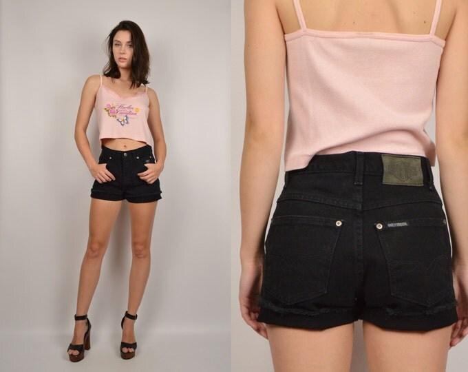 Black Harley High Waisted Cut Off Denim Shorts Jean