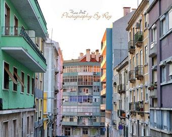 Rua. Dr. Oliveira Ramos, Lisbon Portugal. Original Fine Art Street Photography. Colorful Europe building cityscape