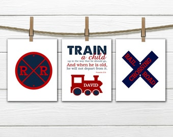 Train decor  - 3 Piece Set - Train nusery Proverbs 22:6  - Choose Size and Colors CANVAS AVAILABLE
