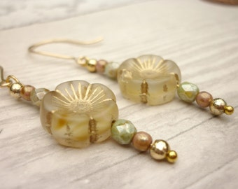Czech Glass flower bead earrings with gold filled wires, green & gold earrings, autumn earrings, glass bead drop earrings, earrings UK