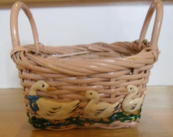 Vintage Basket - Country Geese Basket, Small Wicker Basket, 2 Handled Basket, Easter Basket, Egg Basket, Country Chic Decor