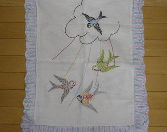 Vintage Linens - Embroidered Runner, Crocheted Edging, Flying Birds, Easter Decor, Spring Decor, Nursery Runner