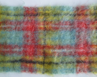 Gorgeous Vintage Scottish Mohair Wool Scarf Bright Turquoise Yellow Black & Red