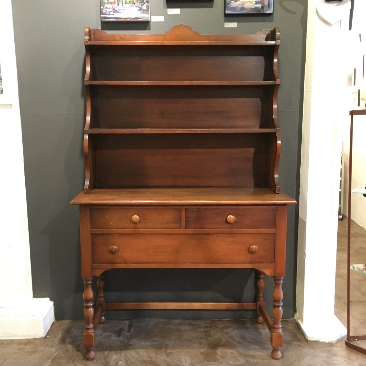 Antique Kitchen Hutch And Buffet: Antique Buffet With Hutch By Tomlinson. Sideboard With Display