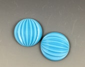 Turquoise Glass Fluted Large Cabochons