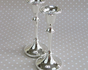 Pair of Vintage Retro Silver Coloured Felt Base Metal Candle Holders