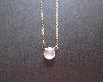 tiny ROSE QUARTZ gemstone necklace anklet bracelet gold filled rose gold filled sterling silver dainty delicate heart-shaped briolette drop