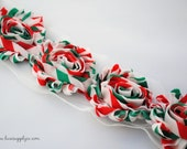 CLEARANCE - CHRISTMAS Stripes Chiffon Flower Trim - Red, Green, * White Your Choice: 1/2 yard or 1 yard - Shabby rose trim